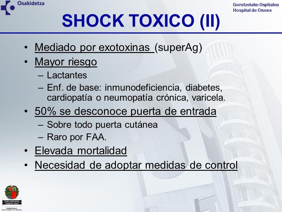 SHOCK TOXICO (II) Mediado por exotoxinas (superAg) Mayor riesgo