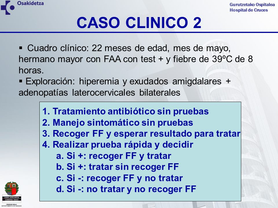 CASO CLINICO 2 Cuadro clínico: 22 meses de edad, mes de mayo, hermano mayor con FAA con test + y fiebre de 39ºC de 8 horas.
