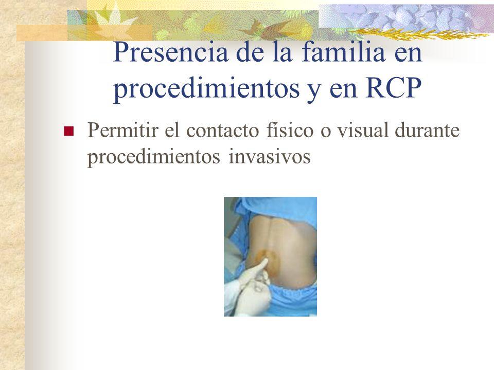 Presencia de la familia en procedimientos y en RCP