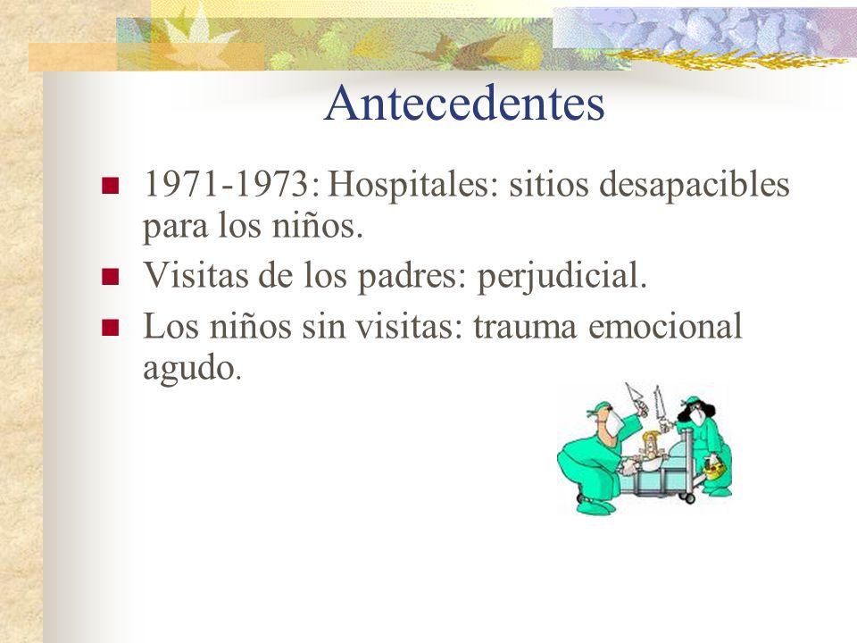 Antecedentes 1971-1973: Hospitales: sitios desapacibles para los niños. Visitas de los padres: perjudicial.
