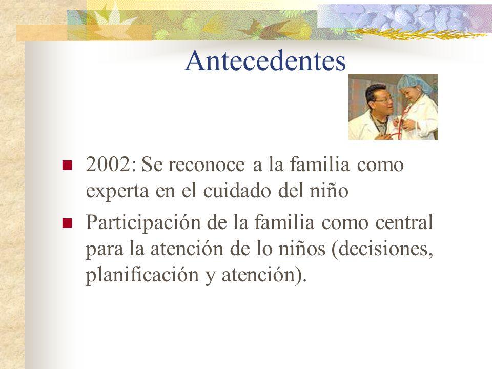 Antecedentes2002: Se reconoce a la familia como experta en el cuidado del niño.