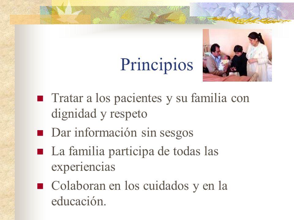 Principios Tratar a los pacientes y su familia con dignidad y respeto