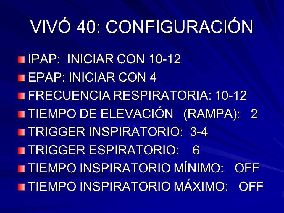 VIVÓ 40: CONFIGURACIÓN IPAP: INICIAR CON 10-12 EPAP: INICIAR CON 4