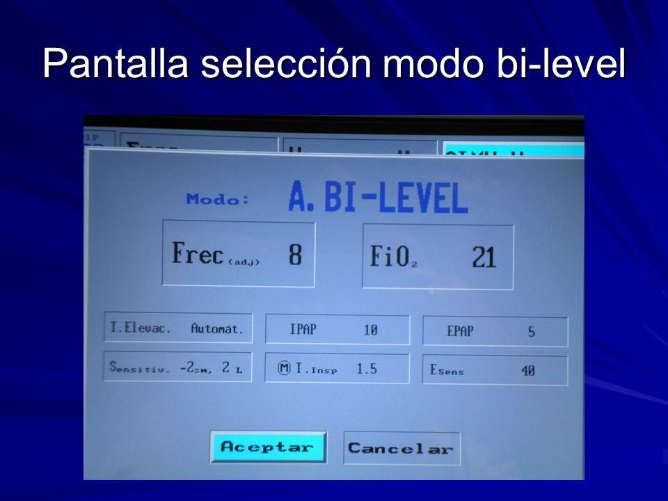 Pantalla selección modo bi-level