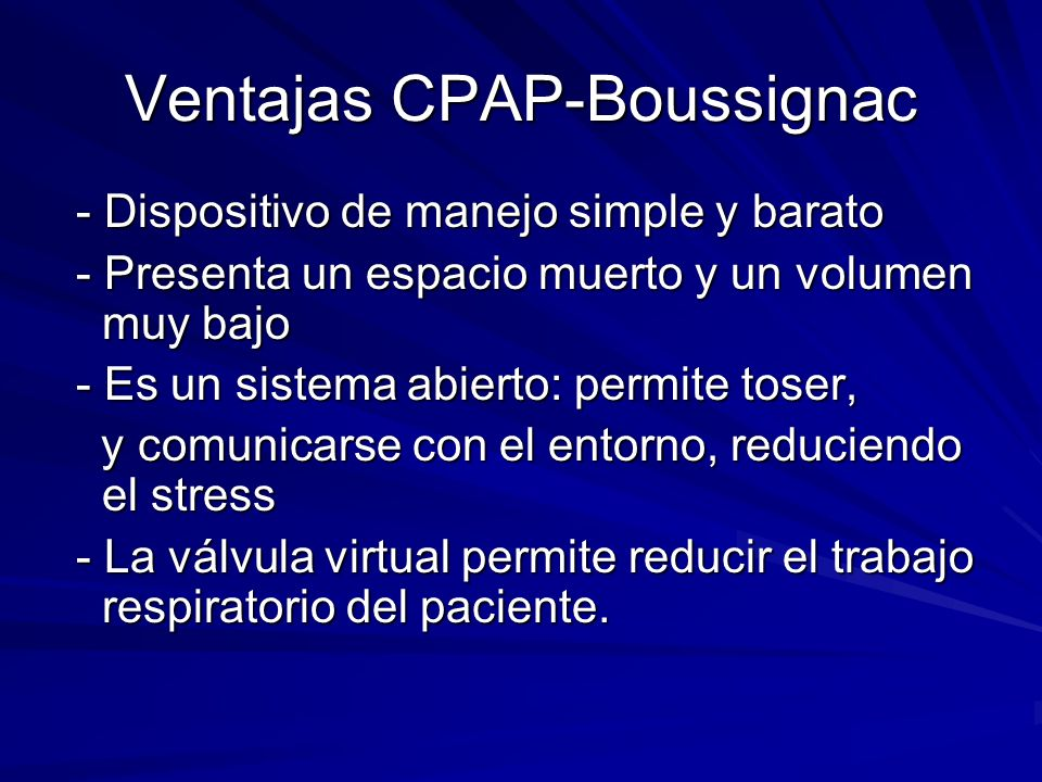 Ventajas CPAP-Boussignac