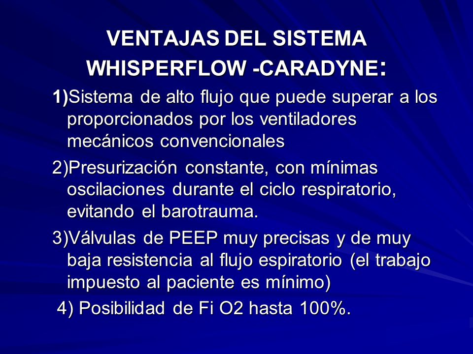 VENTAJAS DEL SISTEMA WHISPERFLOW -CARADYNE: