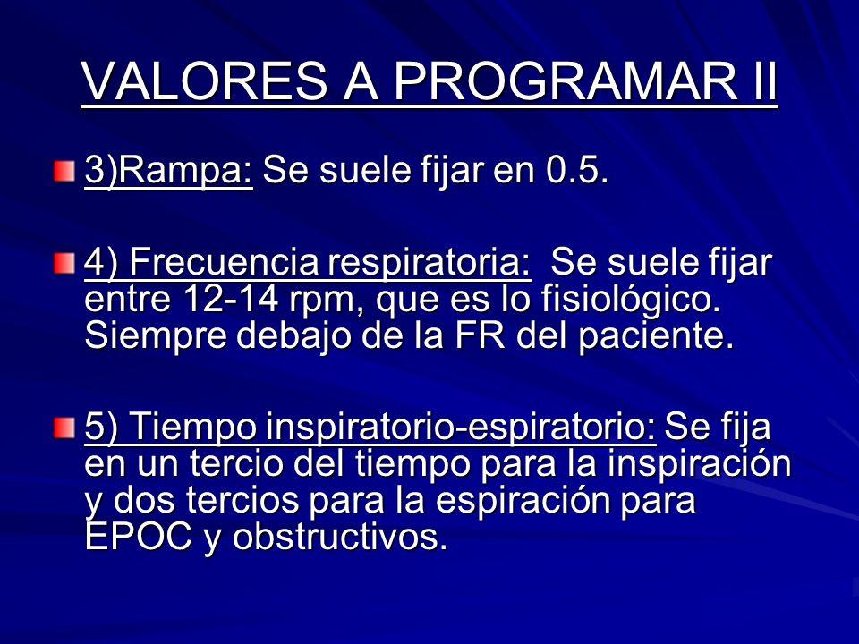 VALORES A PROGRAMAR II 3)Rampa: Se suele fijar en 0.5.