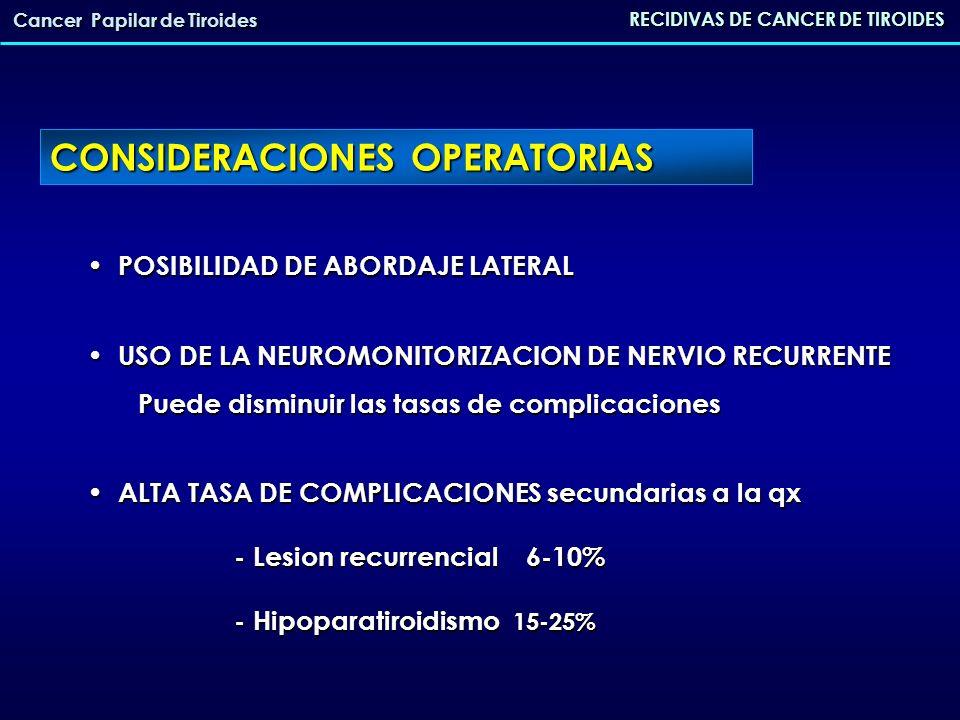 CONSIDERACIONES OPERATORIAS