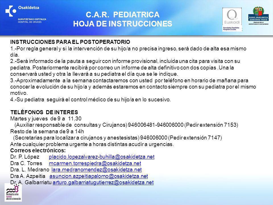 C.A.R. PEDIATRICA HOJA DE INSTRUCCIONES