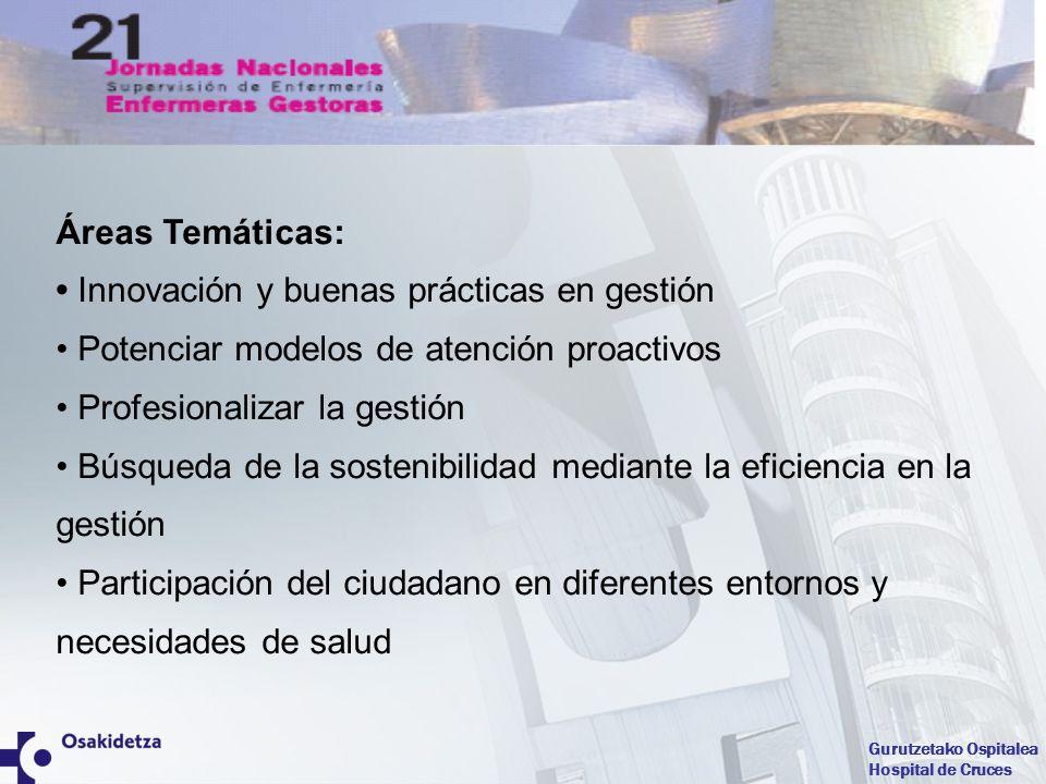 Áreas Temáticas: • Innovación y buenas prácticas en gestión. • Potenciar modelos de atención proactivos.