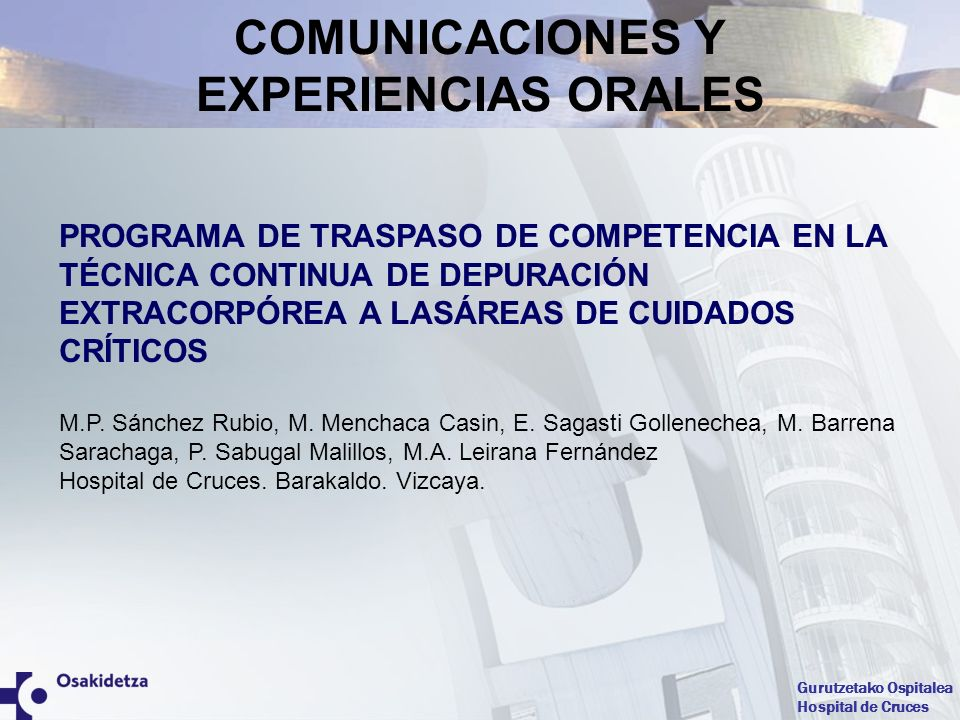 COMUNICACIONES Y EXPERIENCIAS ORALES