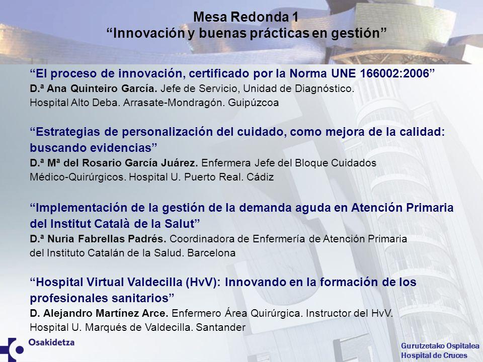 Mesa Redonda 1 Innovación y buenas prácticas en gestión