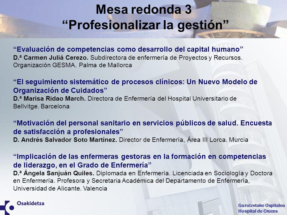Mesa redonda 3 Profesionalizar la gestión