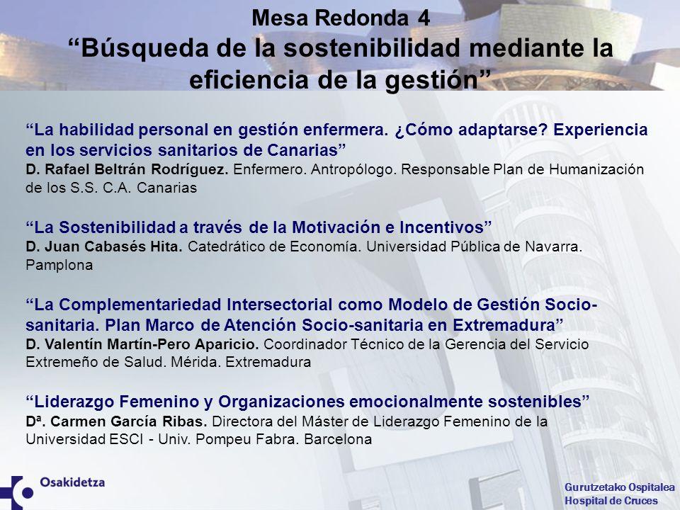 Mesa Redonda 4 Búsqueda de la sostenibilidad mediante la eficiencia de la gestión
