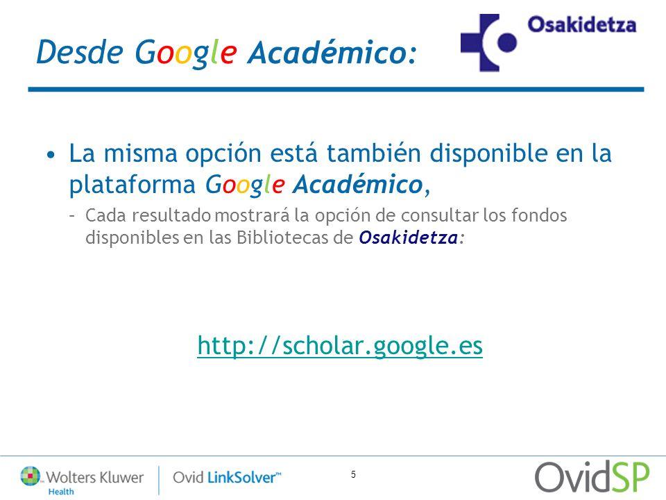 Desde Google Académico: