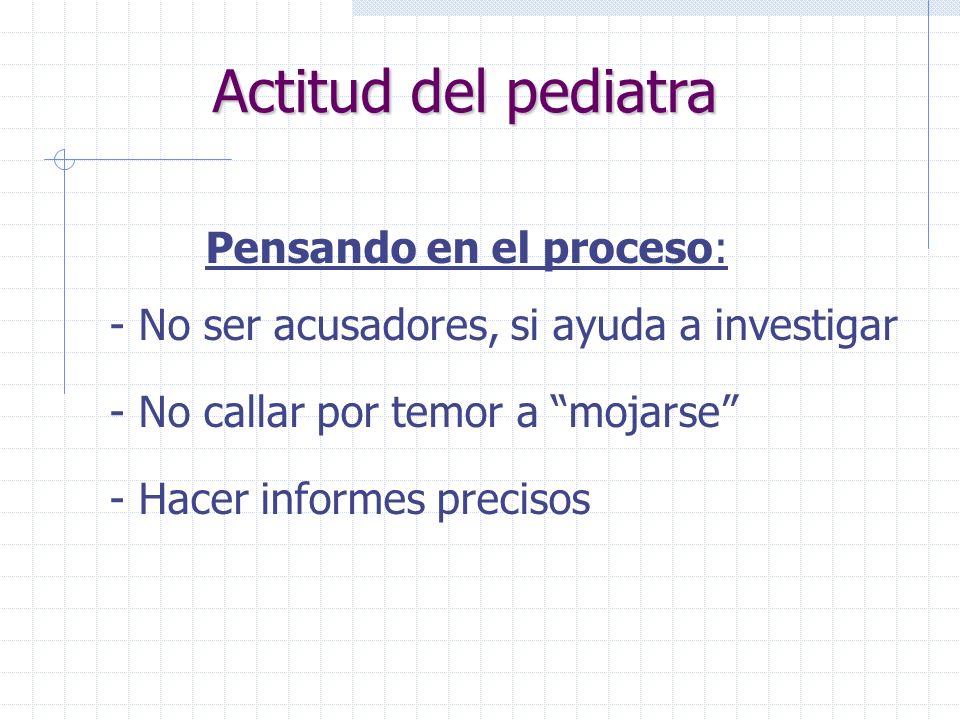 Actitud del pediatra Pensando en el proceso: