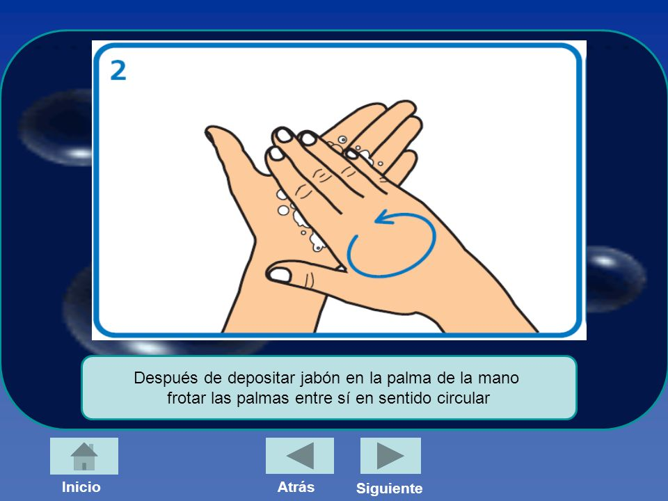 Después de depositar jabón en la palma de la mano