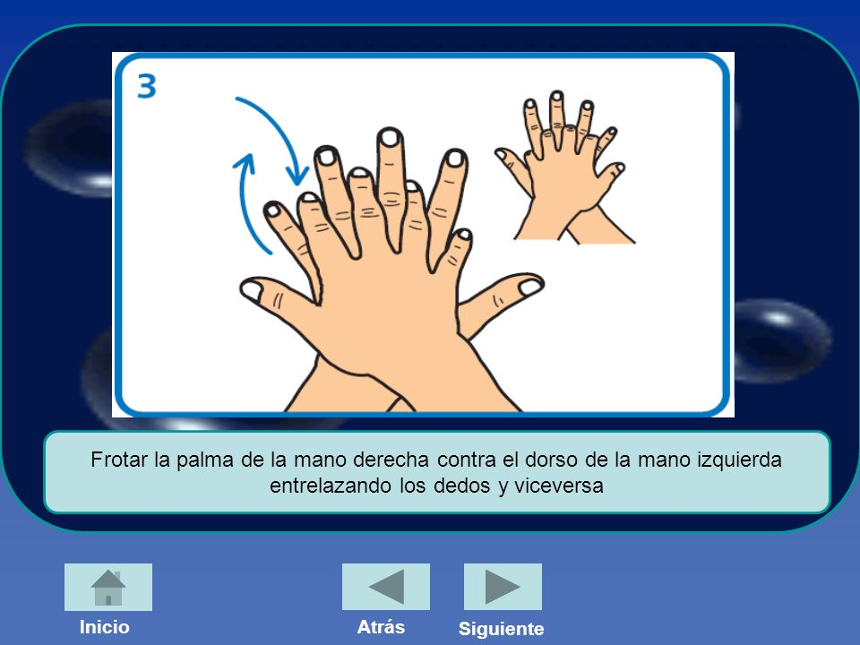 Frotar la palma de la mano derecha contra el dorso de la mano izquierda entrelazando los dedos y viceversa