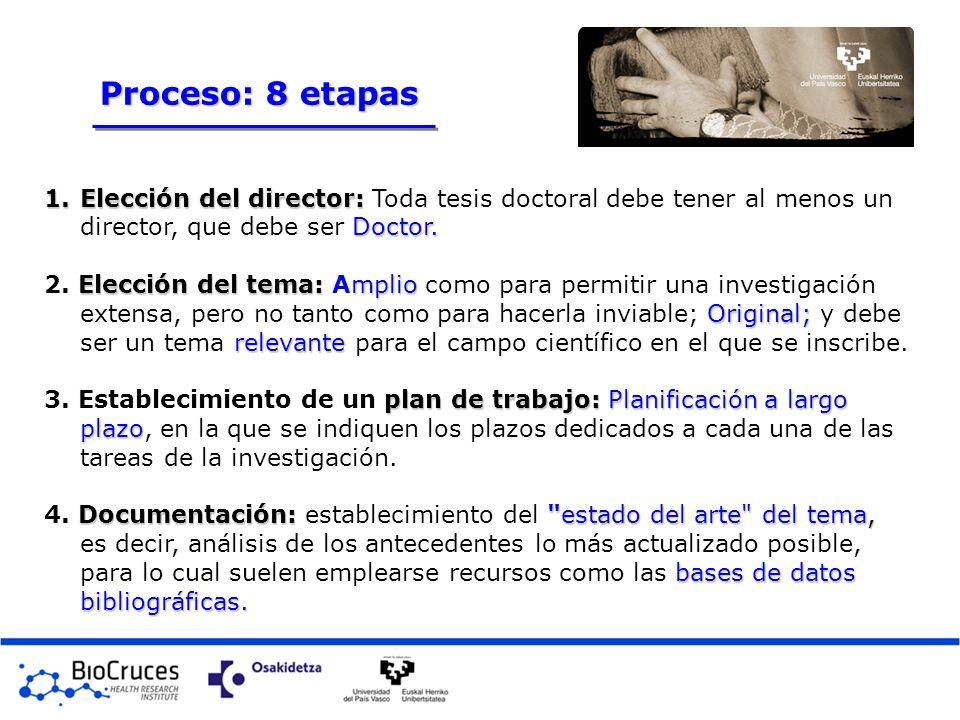Proceso: 8 etapas Elección del director: Toda tesis doctoral debe tener al menos un director, que debe ser Doctor.