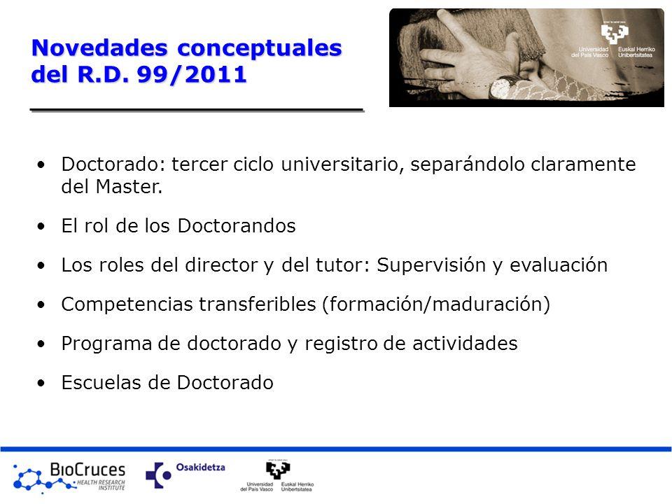 Novedades conceptuales del R.D. 99/2011