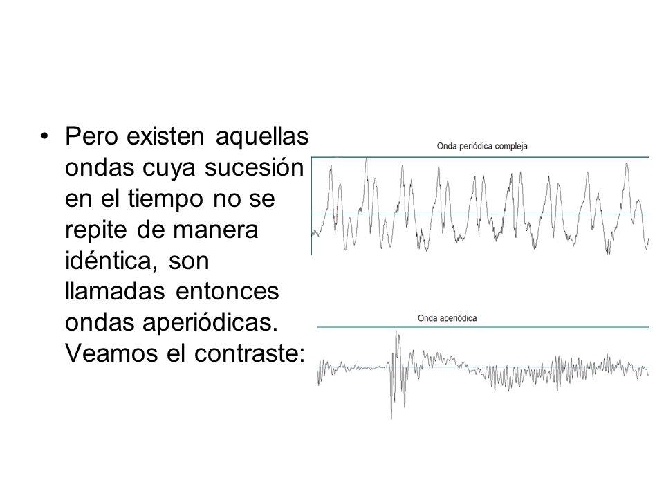 Pero existen aquellas ondas cuya sucesión en el tiempo no se repite de manera idéntica, son llamadas entonces ondas aperiódicas.
