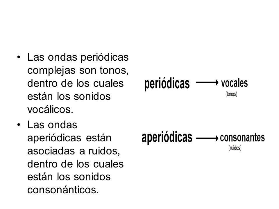 Las ondas periódicas complejas son tonos, dentro de los cuales están los sonidos vocálicos.