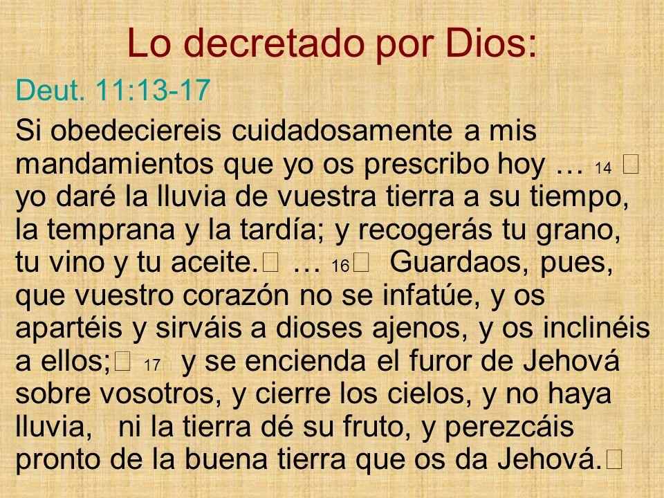 Lo decretado por Dios: Deut. 11:13-17.
