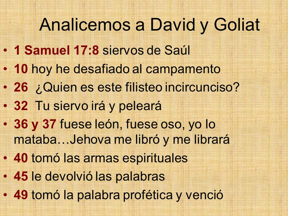 Analicemos a David y Goliat