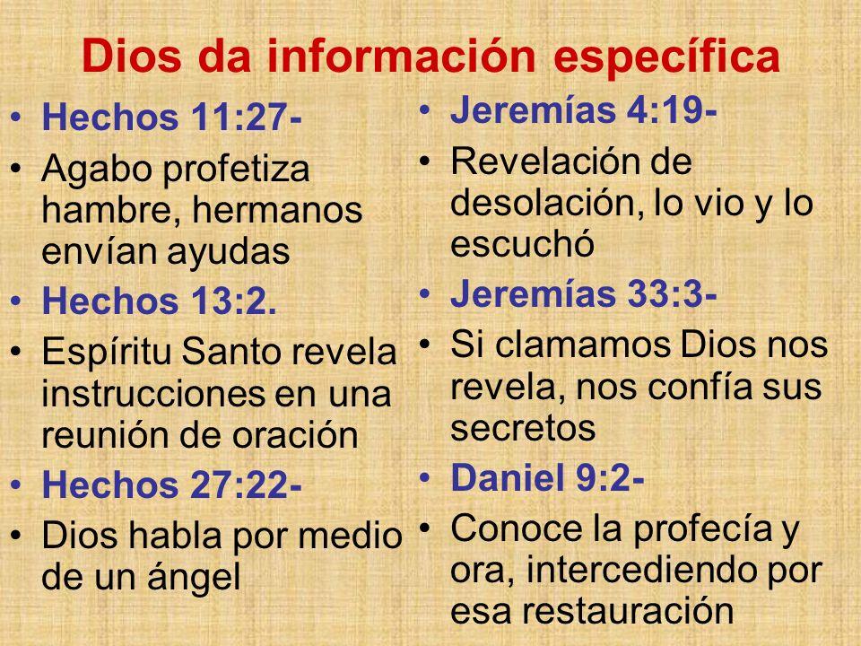 Dios da información específica