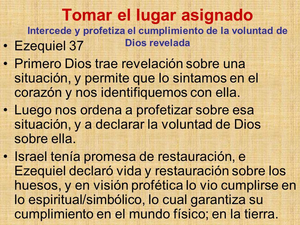 Tomar el lugar asignado Intercede y profetiza el cumplimiento de la voluntad de Dios revelada