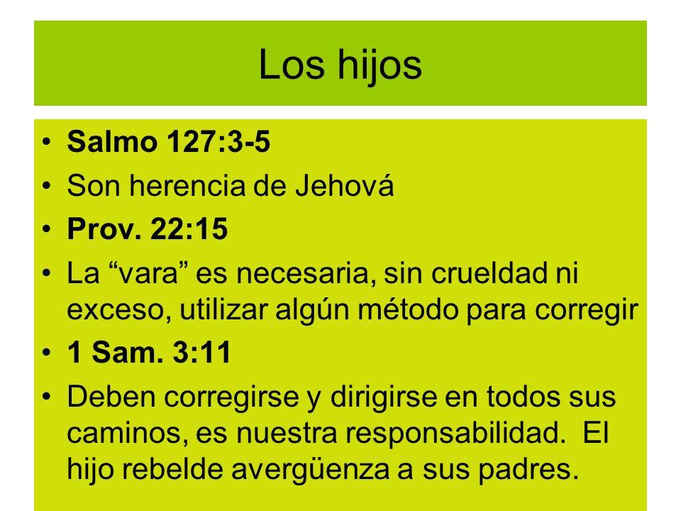 Los hijos Salmo 127:3-5 Son herencia de Jehová Prov. 22:15