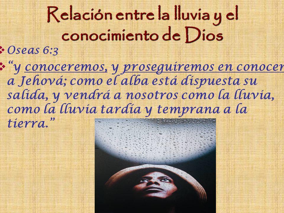 Relación entre la lluvia y el conocimiento de Dios