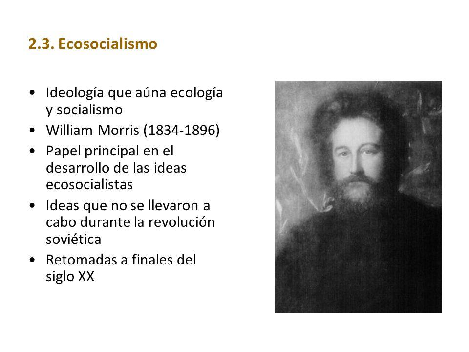 2.3. Ecosocialismo Ideología que aúna ecología y socialismo