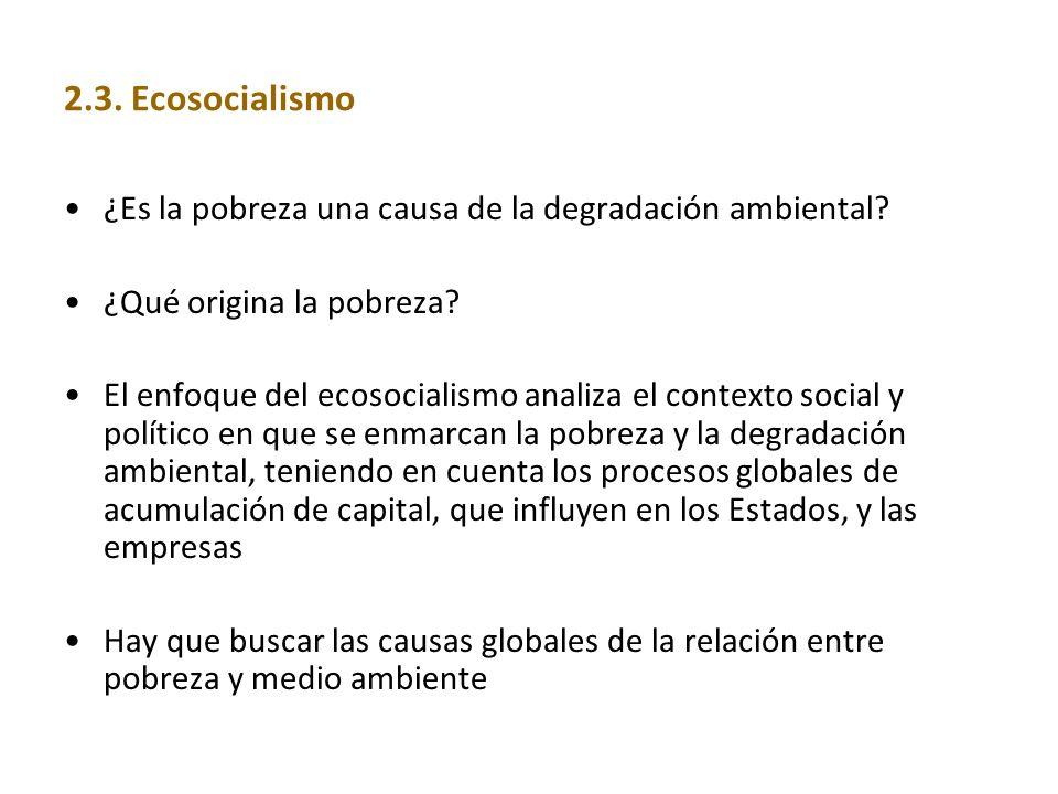 2.3. Ecosocialismo ¿Es la pobreza una causa de la degradación ambiental ¿Qué origina la pobreza