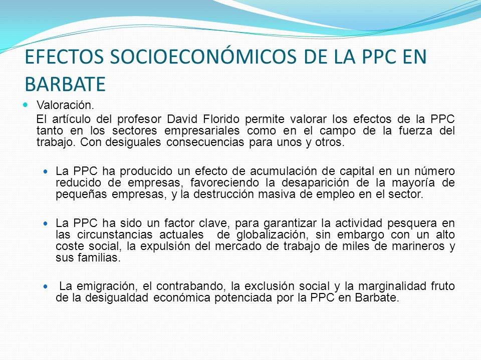 EFECTOS SOCIOECONÓMICOS DE LA PPC EN BARBATE