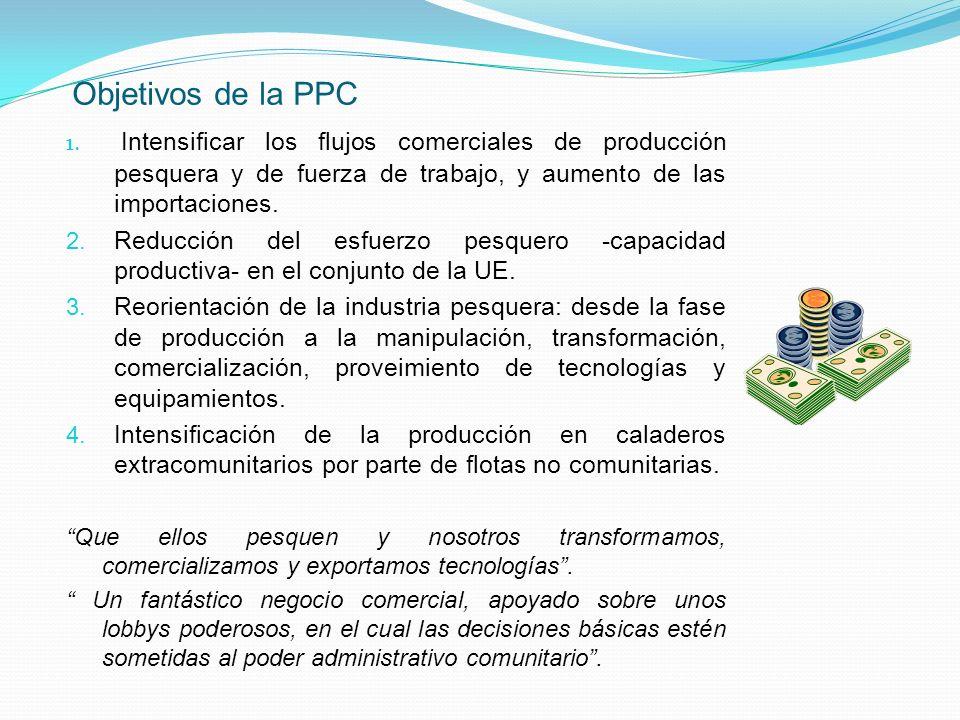 Objetivos de la PPC Intensificar los flujos comerciales de producción pesquera y de fuerza de trabajo, y aumento de las importaciones.
