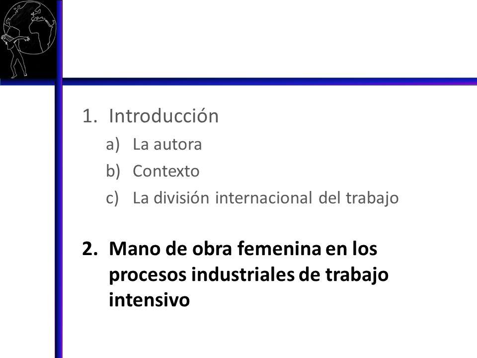 IntroducciónLa autora.Contexto. La división internacional del trabajo.