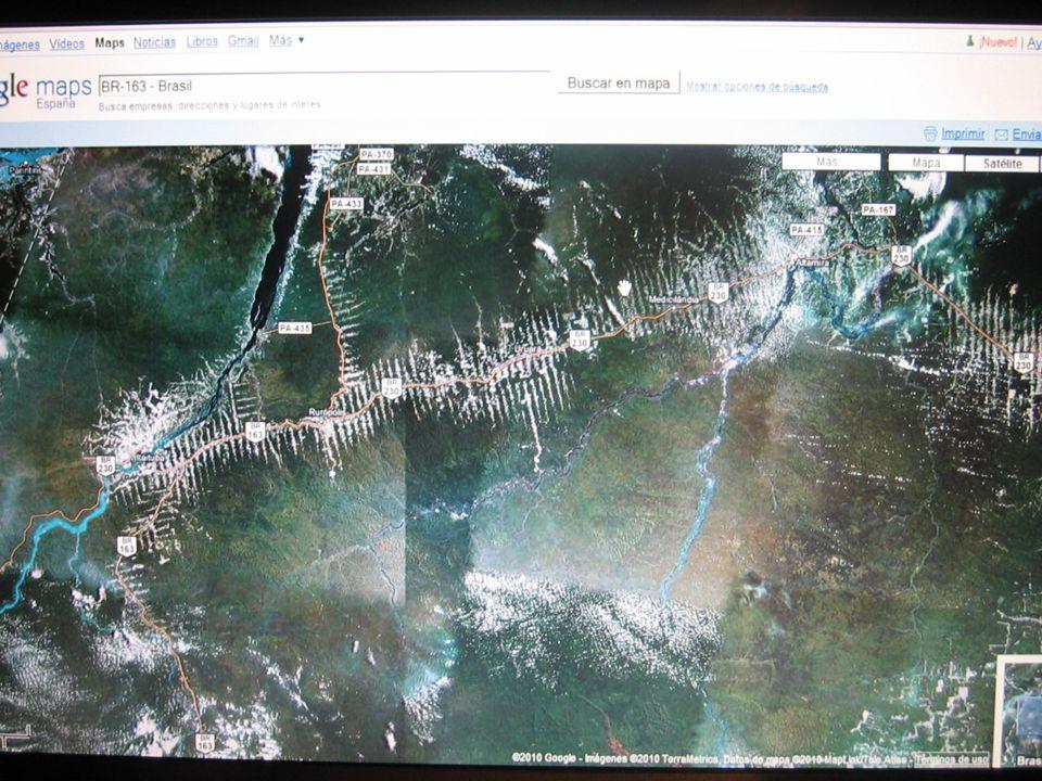 Desde google earth o google maps se puede comprobar el grado de deforestación a lo largo de las carreteras transamazónicas