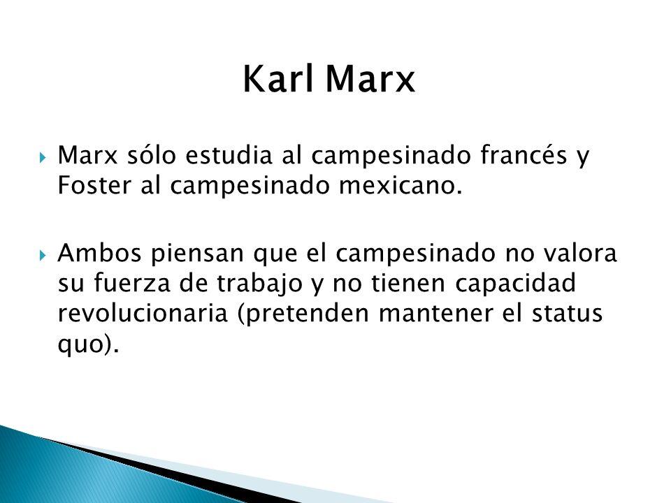 Karl Marx Marx sólo estudia al campesinado francés y Foster al campesinado mexicano.