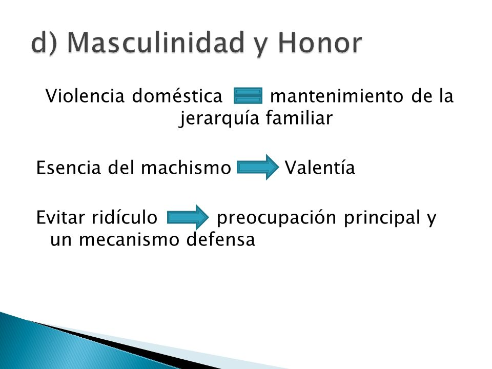 d) Masculinidad y Honor