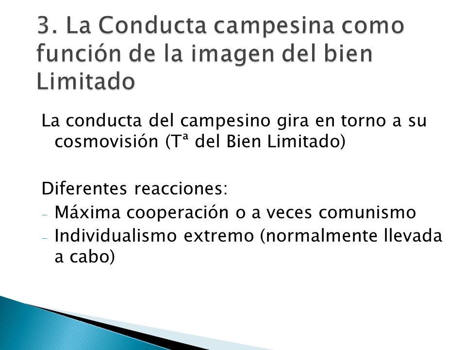 3. La Conducta campesina como función de la imagen del bien Limitado