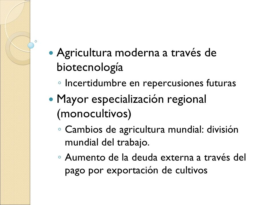 Agricultura moderna a través de biotecnología