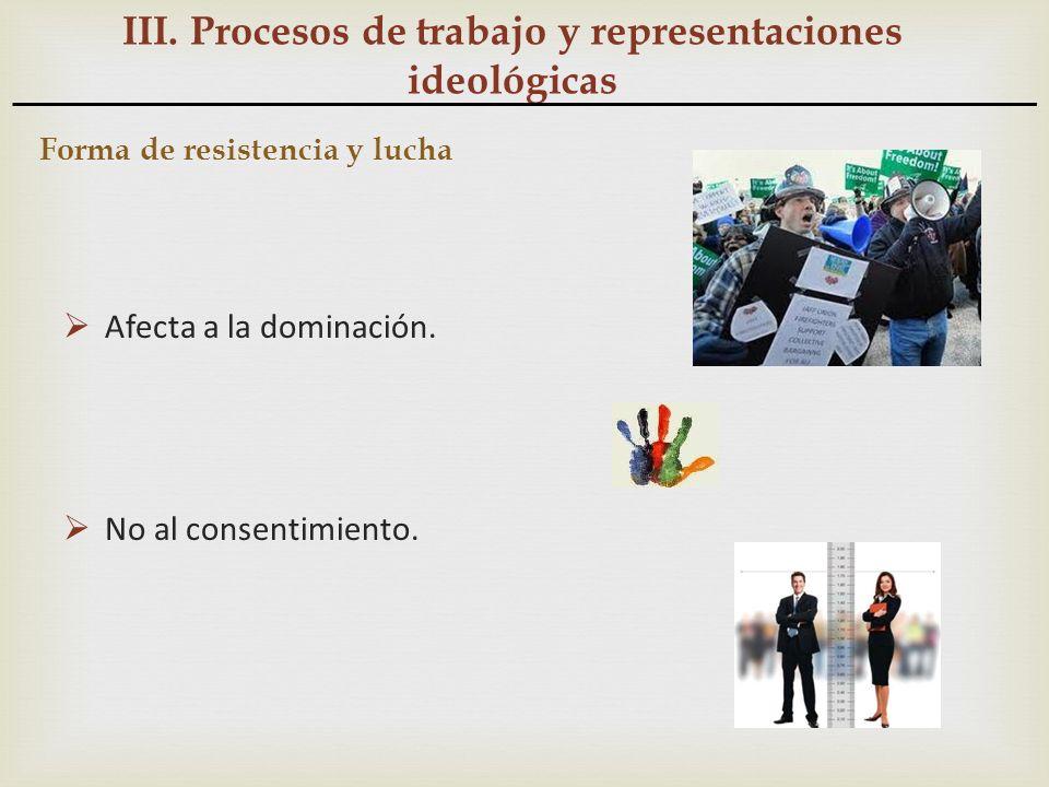 III. Procesos de trabajo y representaciones ideológicas