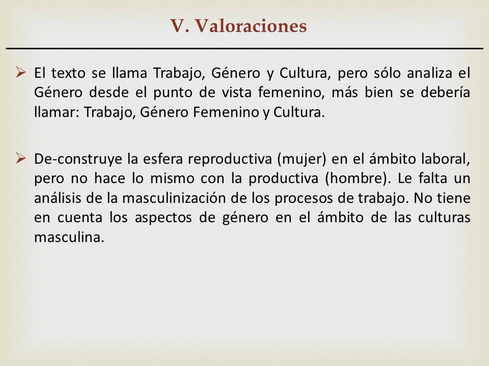 V. Valoraciones