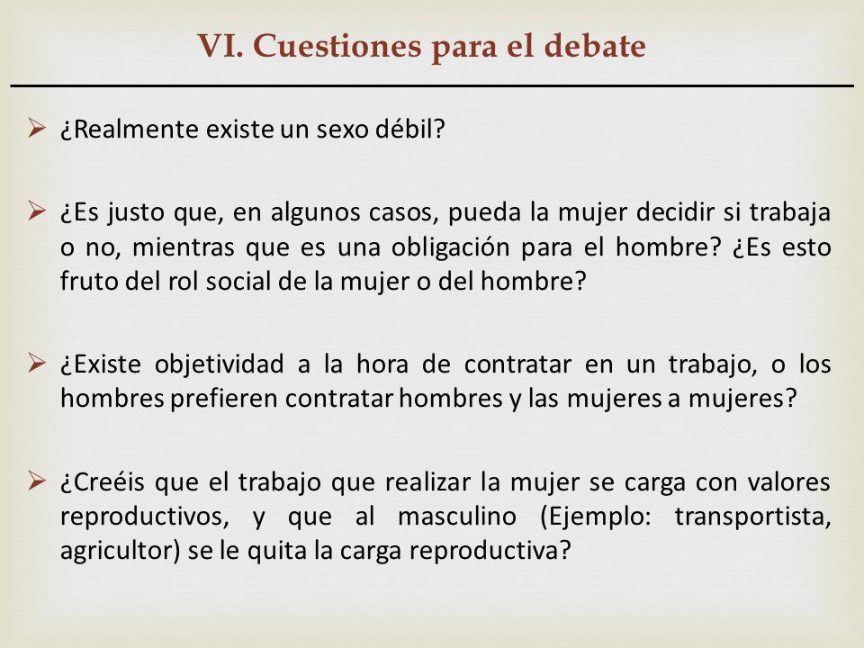 VI. Cuestiones para el debate