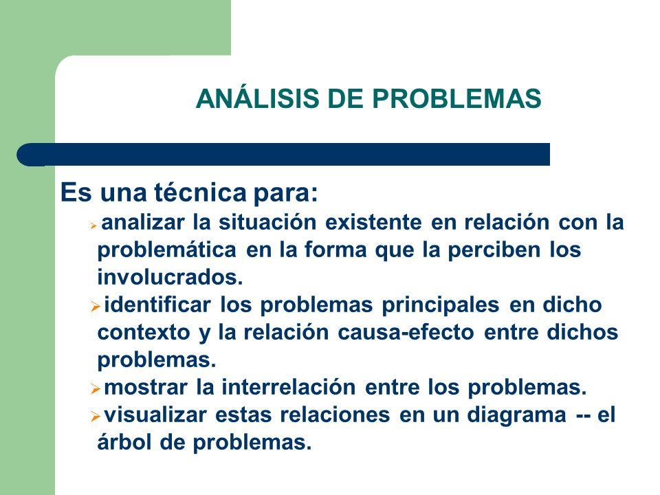 ANÁLISIS DE PROBLEMAS Es una técnica para: