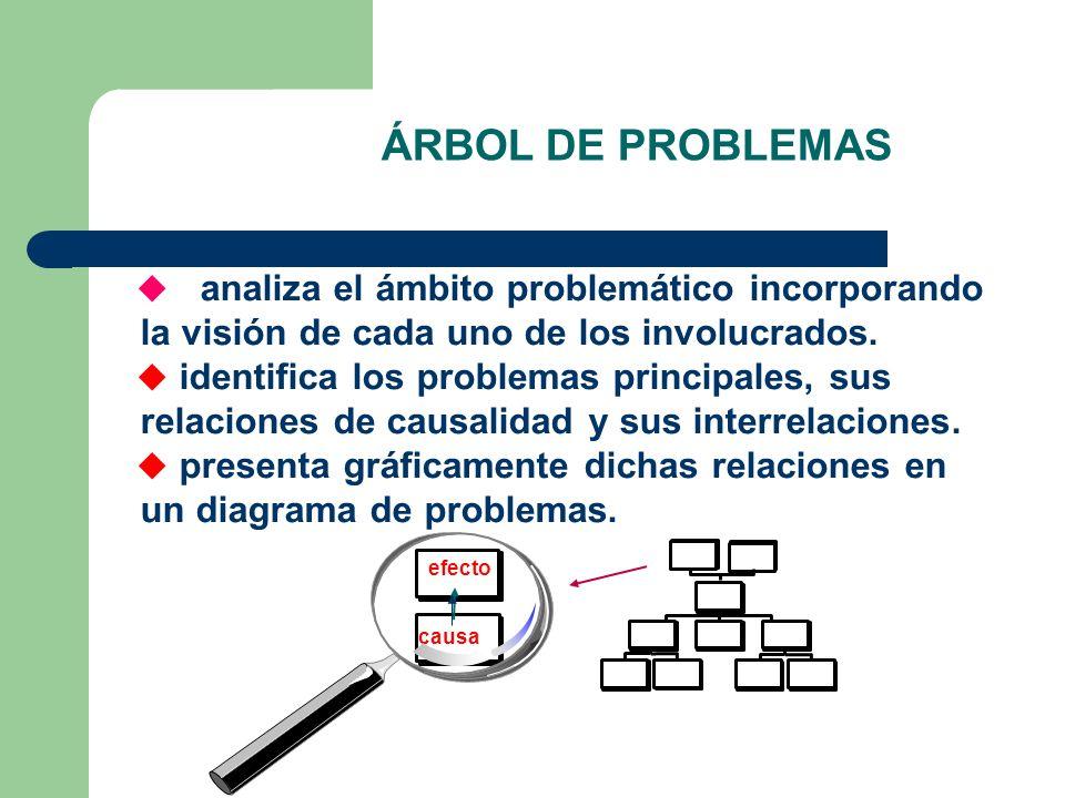 ÁRBOL DE PROBLEMAS analiza el ámbito problemático incorporando la visión de cada uno de los involucrados.