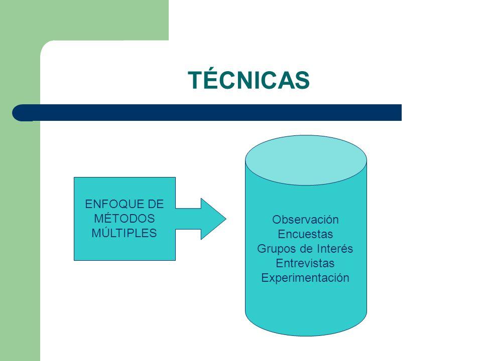 TÉCNICAS Observación Encuestas ENFOQUE DE Grupos de Interés MÉTODOS