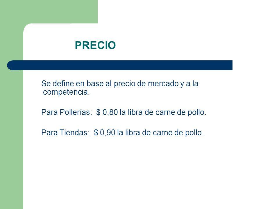 PRECIO Se define en base al precio de mercado y a la competencia.