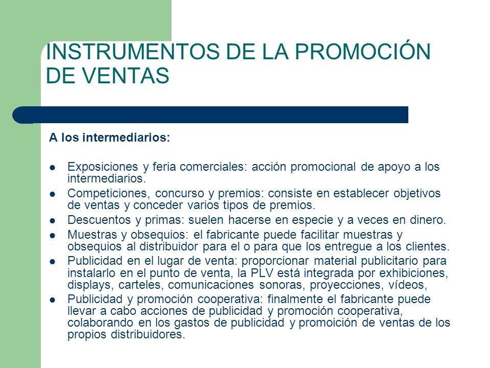 INSTRUMENTOS DE LA PROMOCIÓN DE VENTAS
